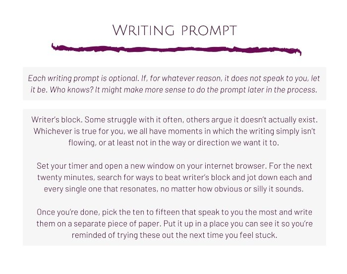 Extract of 52 weeks of writing - example writing prompt from week 1