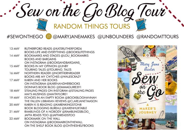 Book Blog Tour Banner and Book review of Sew On The Go by Mary Jane Baxter