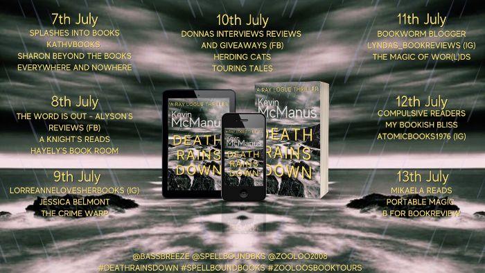 Blog Tour Banner for Death Rains Down by Kevin McManus - Detective Story